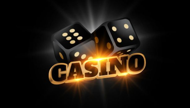 3d casino background with shiny black dice