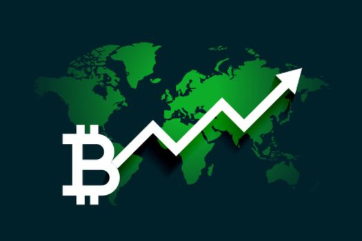 global bitcoin growth arrow chart background