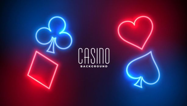 casino playing cards in neon style