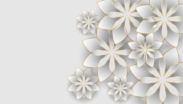 white background with flowers decoration