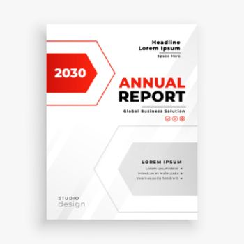 stylish red and whte business annual report template