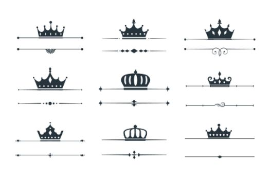 set of crown loqotype border design