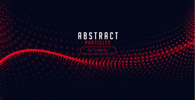 red halftone particle wave on black background