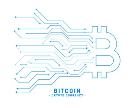 cryptocurrency bitcoin background with circuit lines