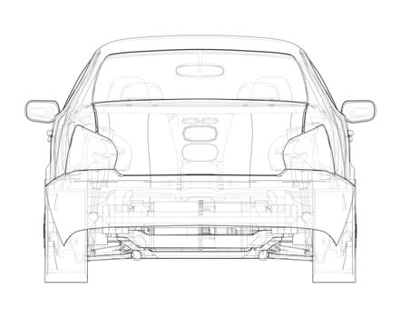 Electric Vehicle Sketch. Vector