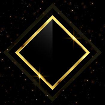 golden frame with scattered glitter sparkles