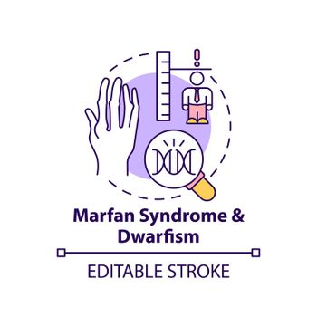 Marfan syndrome and dwarfism concept icon