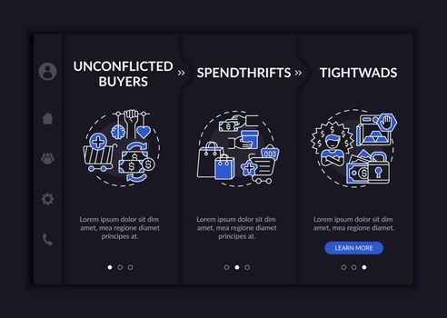 Purchasers types onboarding vector template