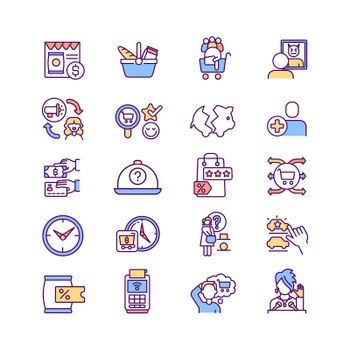 Consumer experience RGB color icons set