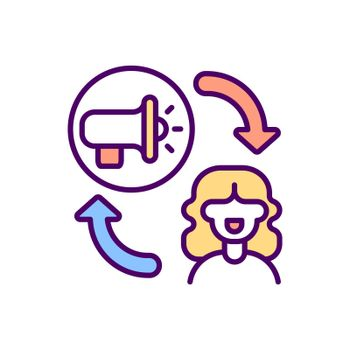 Influencer marketing RGB color icon
