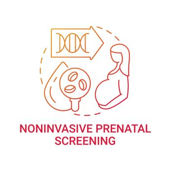 Noninvasive prenatal screening red gradient concept icon
