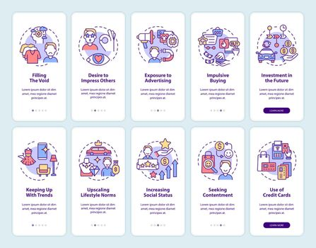 Consumerism onboarding mobile app page screen set