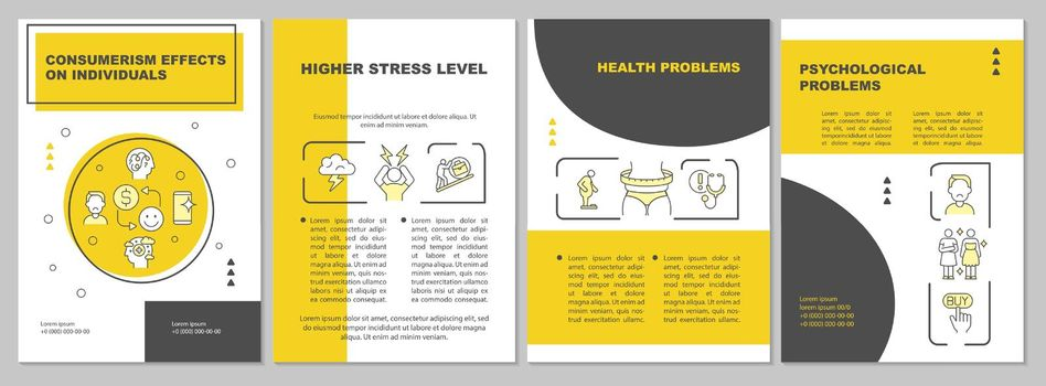 Effects of consumerism yellow brochure template