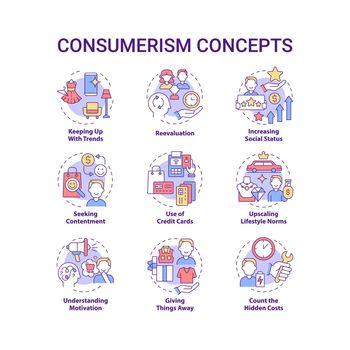 Consumerism concept icons set