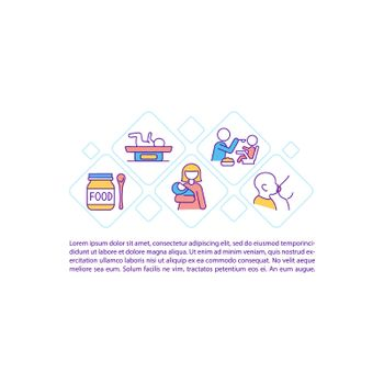 Maternity concept line icons with text