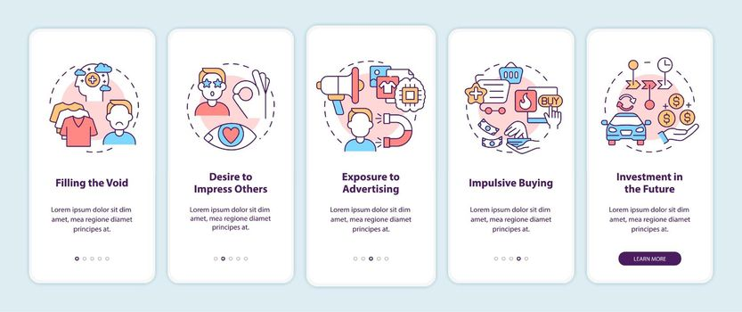 Reasons for consumerism onboarding mobile app page screen