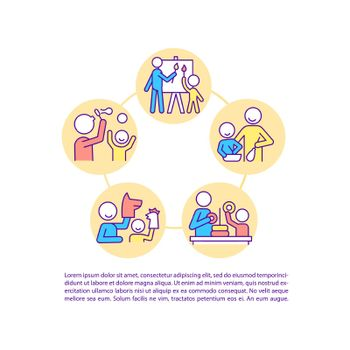 Parent and child interaction concept line icons with text