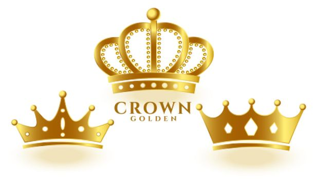 realistic golden crown set for king or queen