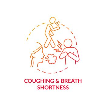 Coughing and breath shortness concept icon