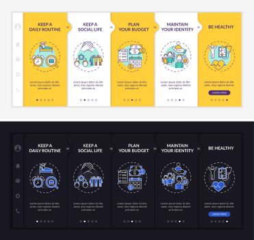 Job transition tips onboarding vector template