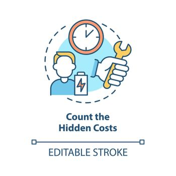 Count hidden costs concept icon