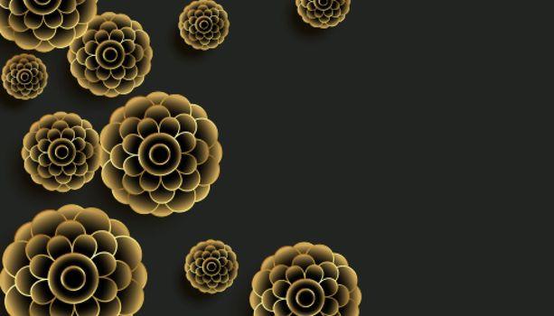 decorative golden flowers on black background