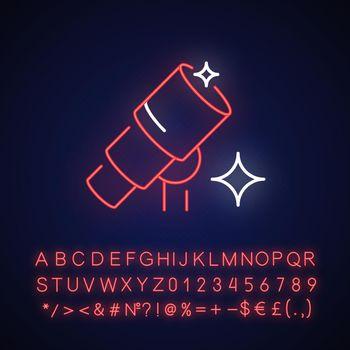Telescope neon light icon