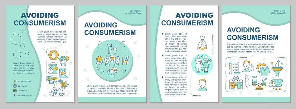 Avoiding consumerism blue brochure template