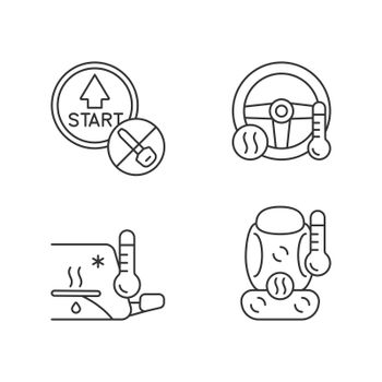 Modern automotive features linear icons set