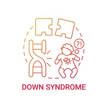 Down syndrome red gradient concept icon