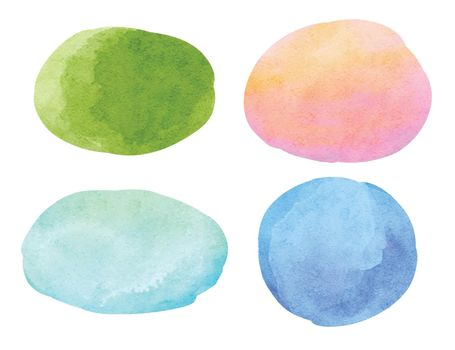 Abstract watercolor background. Circle and oval watercolor texture on white background.