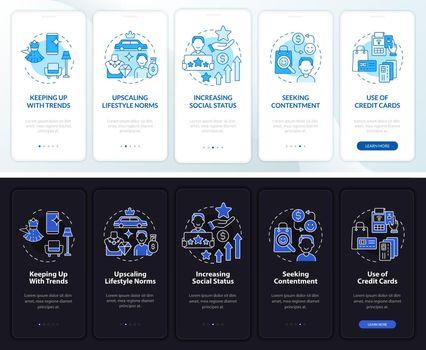 Consumerism motivation dark, light onboarding mobile app page screen
