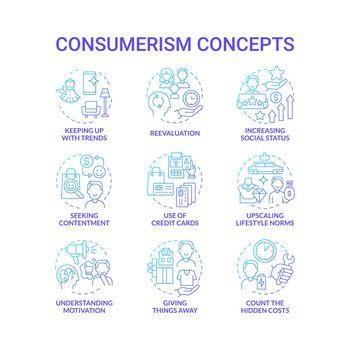 Consumerism blue gradient concept icons set