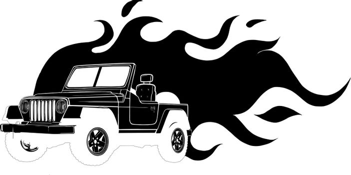 Offroad vehicle in black color with flames for design