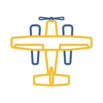 Small amphibian seaplane, plane flat vector icon