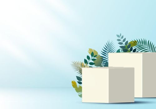 3D realistic white cube on soft blue backdrop for product display with tropical leaves decoration