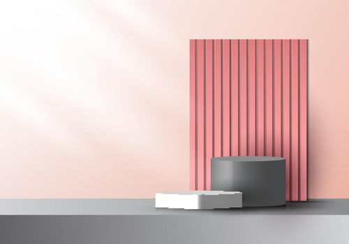 3D realistic pink and gray color geometric platform and battens backdrop with side lighting mockup minimal scene background