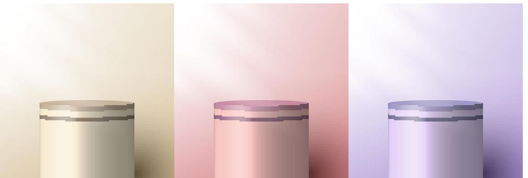 Set of 3D realistic brown beige, pink, purple pedestal backdrop for product display