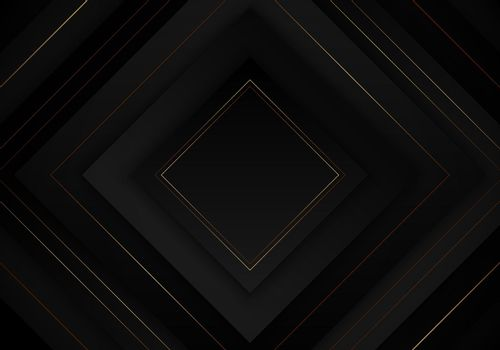 3D elegant abstract black square layered with golden lines on dark background luxury style