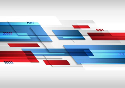 Abstract technology futuristic geometric blue and red color shiny motion background