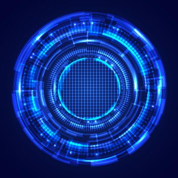 Abstract blue circles HUD screen system technology futuristic innovation with lighting effect on dark background.