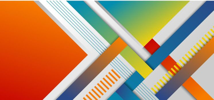 Abstract headline banner template geometric and stripes pattern bright color on white background