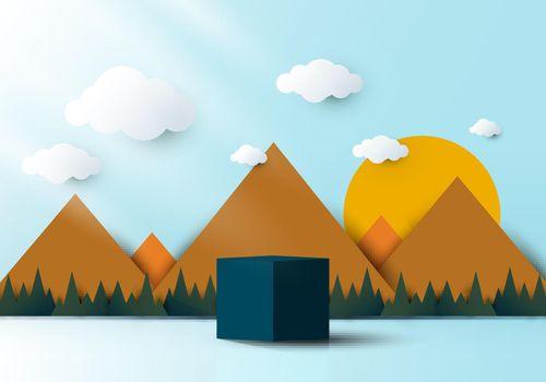 3D realistic blue cube shaped pedestal podium with landscape nature