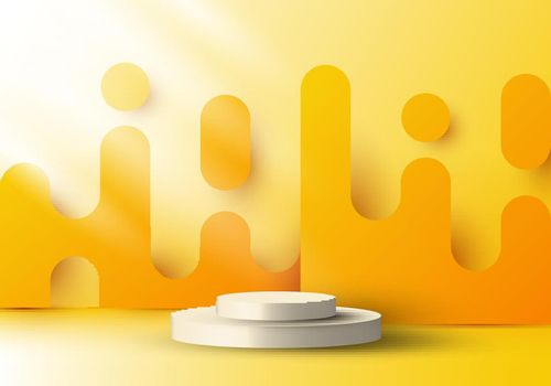 3D realistic display platform with yellow rounded lines backdrop graphic and lighting