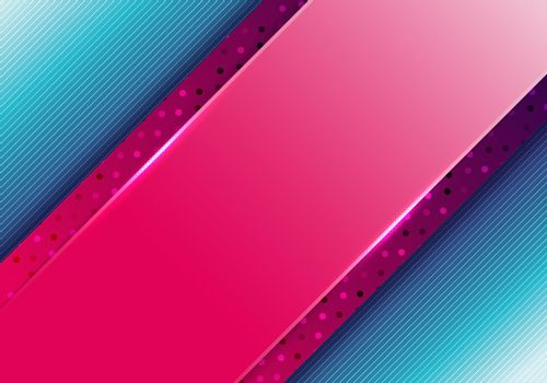 Abstract business presentation template pink diagonal stripes with polka dot pattern on blue background