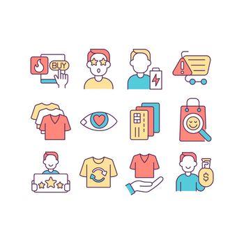 Consumerism RGB color icons set