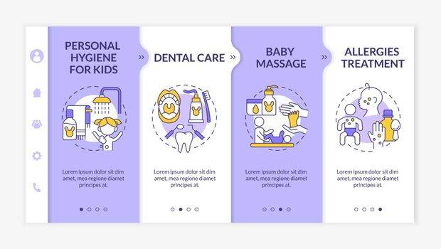 Baby care onboarding vector template