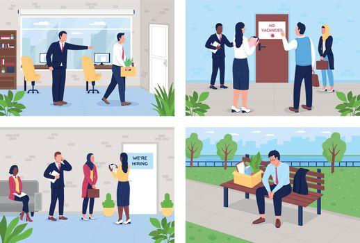 Unemployment problem flat color vector illustration set