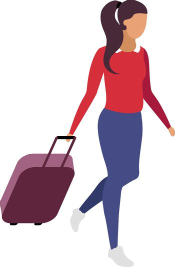 Solo travel for woman flat color vector faceless character