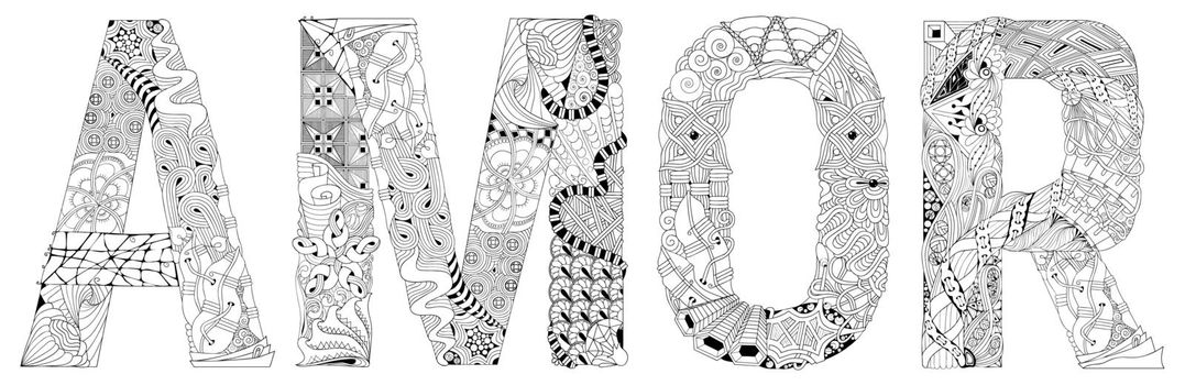 Word AMOR for coloring. Vector decorative zentangle object